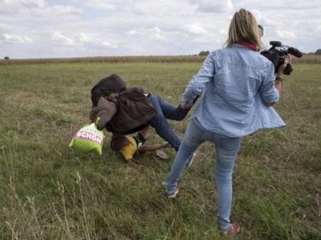 Journalist Trips Refugee Bbc