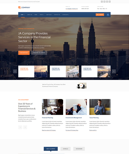 Corporate Business Joomla template - JA Company Joomla Templates