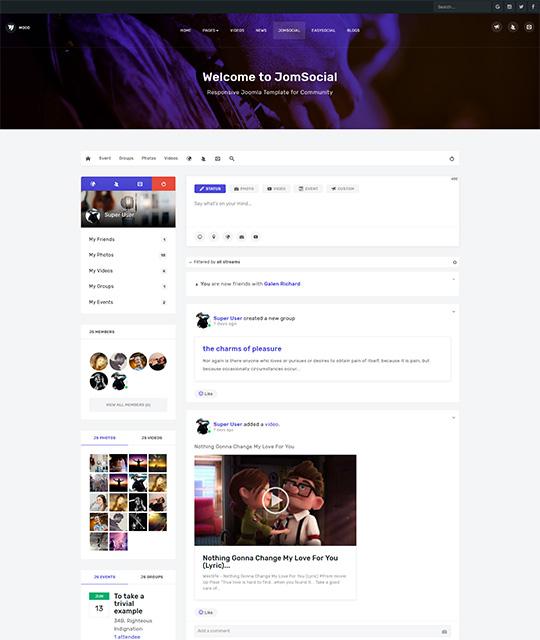 Community Social Network Joomla template - JA Mood Joomla