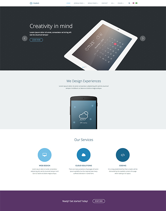 JA Nuevo - Responsive Joomla Template For App and Services Joomla