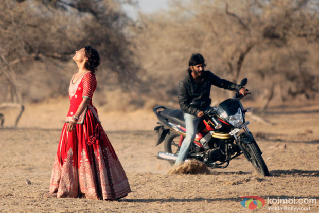 Saiyami Kher and Harshvardhan Kapoor in a still from Mirzya
