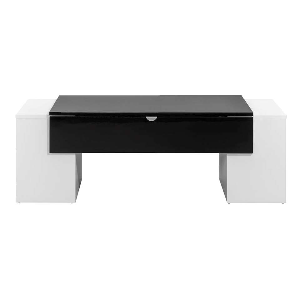 Table De Salon Noir Table De Salon Nice Blanc Brillant Noir 42x123x55 Cm