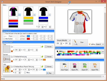 smart shirt designer is a free t shirt designing software that lets you design t