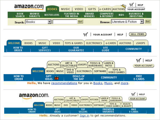 LukeW The History of Amazon\u0027s Tab Navigation