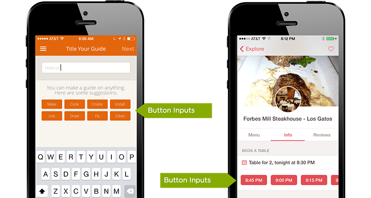 button inputs in mobile forms