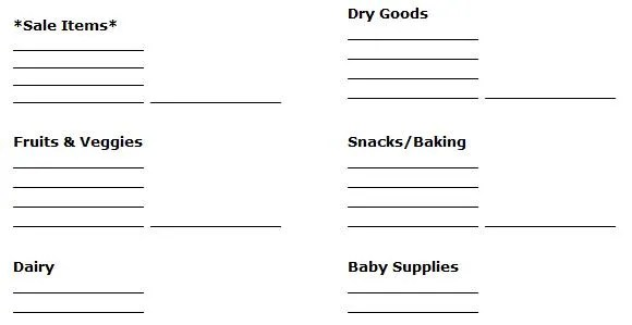 5 Printable Grocery List Websites - printable shopping list with categories