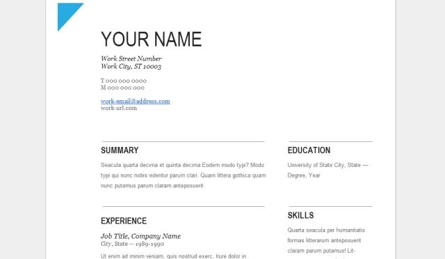 google docs template cv finance