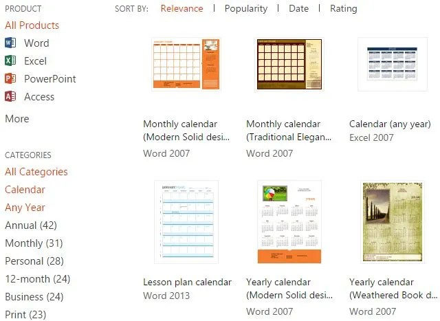 10+ Sites to Find the Perfect Free Printable Calendar Template All - microsoft office com templates