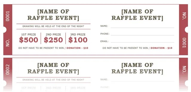 How to Get a Free Raffle Ticket Template for Microsoft Word - prize voucher template