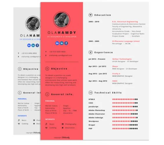 clean cv template photoshop