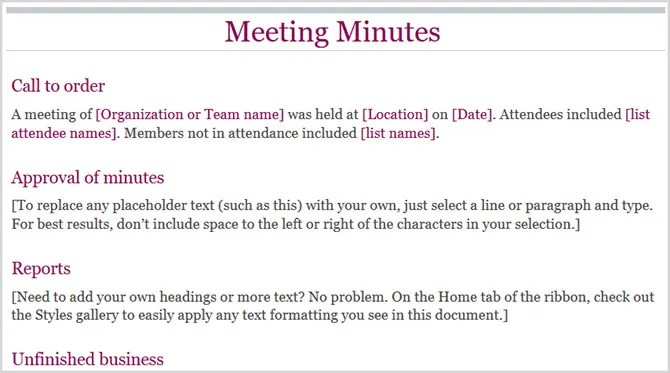 12 Best Meeting Minutes Templates for Professionals - minutes of organizational meeting