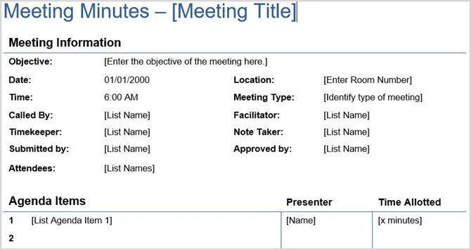 12 Best Meeting Minutes Templates for Professionals