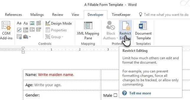 Make a Fillable Form in Word 2016  Collect Data the Easy Way - how to create a form template in word
