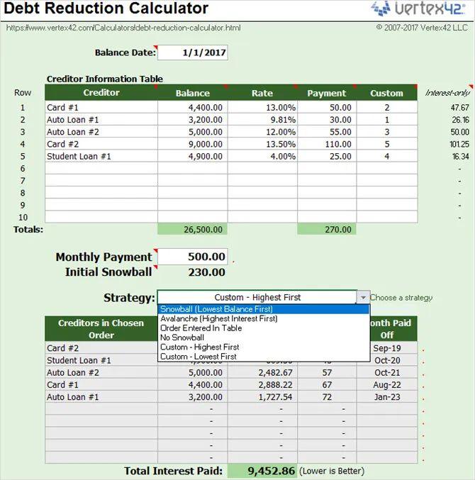 vertex debt reduction calculator