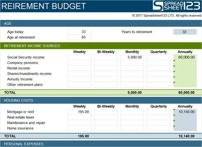 retirement budget worksheet excel - Romeolandinez