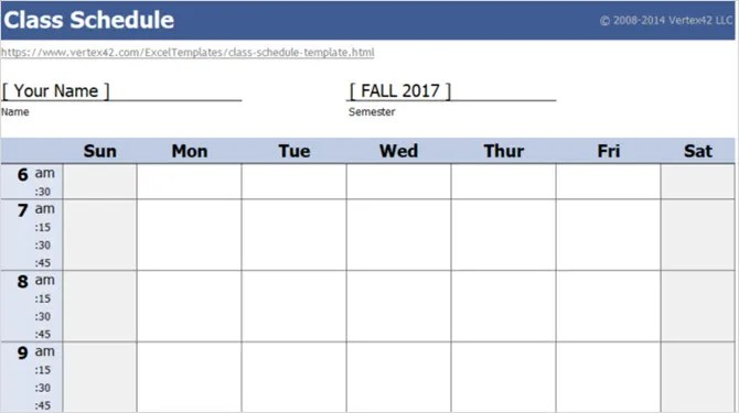 15 Checklist, Schedule, and Planner Templates for Students - school scheduling template