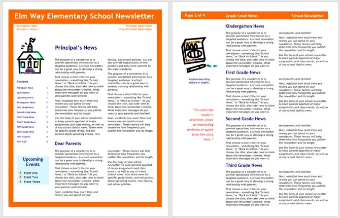 13 Free Newsletter Templates You Can Print or Email as PDF - school newsletter templates