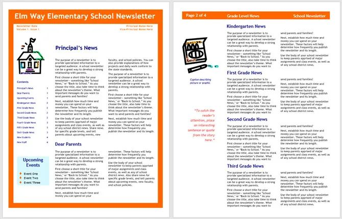 free elementary school newsletter templates