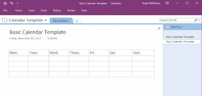 How to Create a OneNote Calendar Template - one note templates