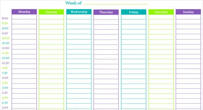 These Time Blocking Free Printable Planners Will Help You Avoid - 7 day weekly schedule template