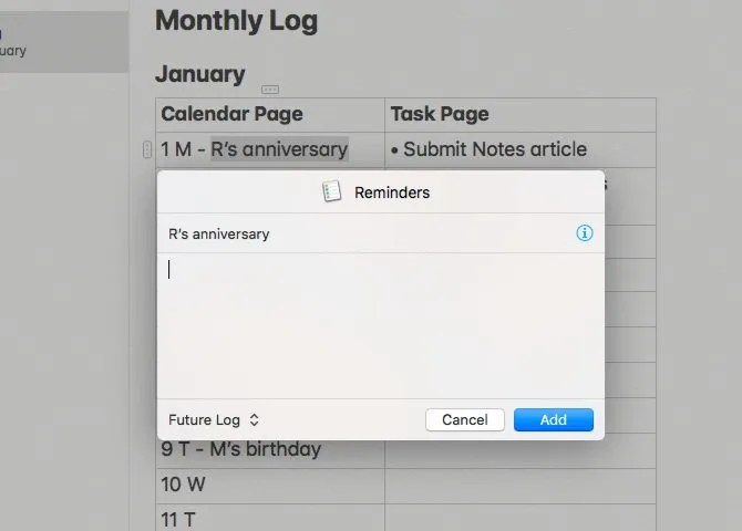 Create a Bullet Journal on Your Mac With Reminders, Calendar, or Notes