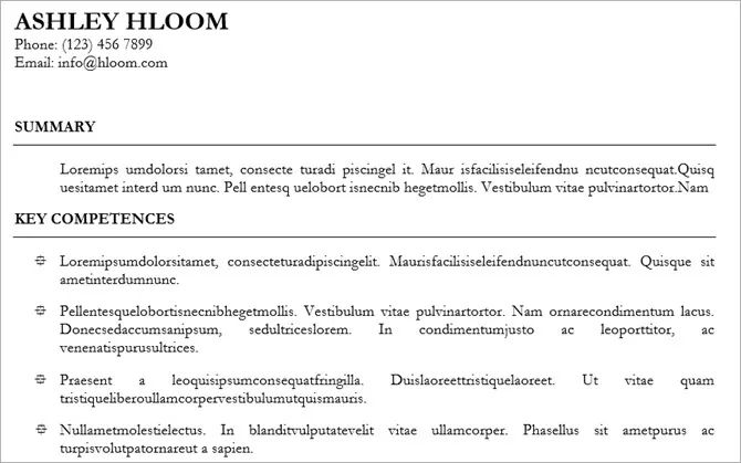 hloom resume template legal