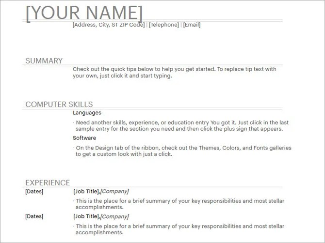 20 Free Resume Templates for Word That\u0027ll Help You Land a Job - word resume samples