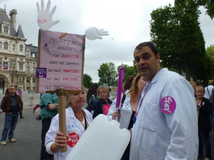 18 juin 2015, dans la manifestation du personnel de l'AP-HP