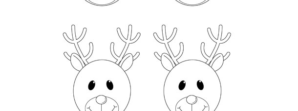 Reindeer Face Template \u2013 Small