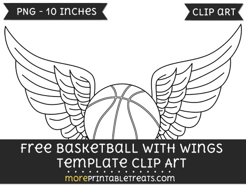 Basketball With Wings Template \u2013 Clipart - black and white basketball template