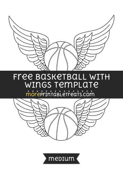 Basketball With Wings Template \u2013 Medium - black and white basketball template