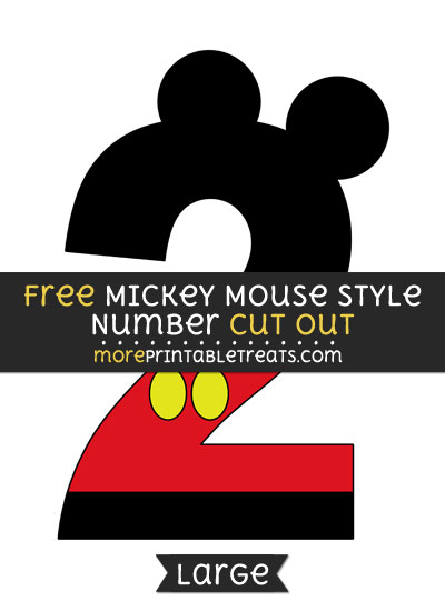 Mickey Mouse Style Number 2 Cut Out \u2013 Large