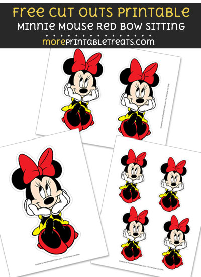Minnie Mouse Red Bow Sitting Cut Outs
