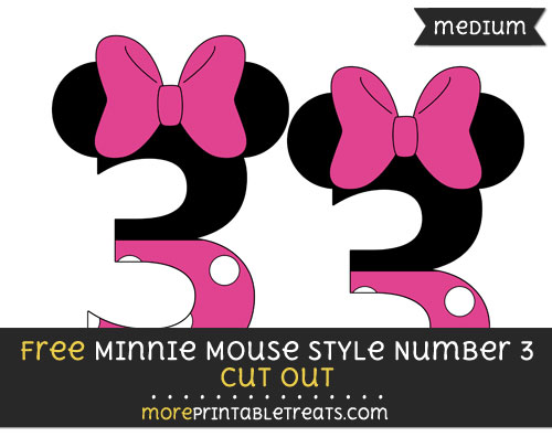 Minnie Mouse Style Number 3 Cut Out \u2013 Medium