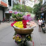 A motobike with a giant basket of flowers on the back in Hanoi.