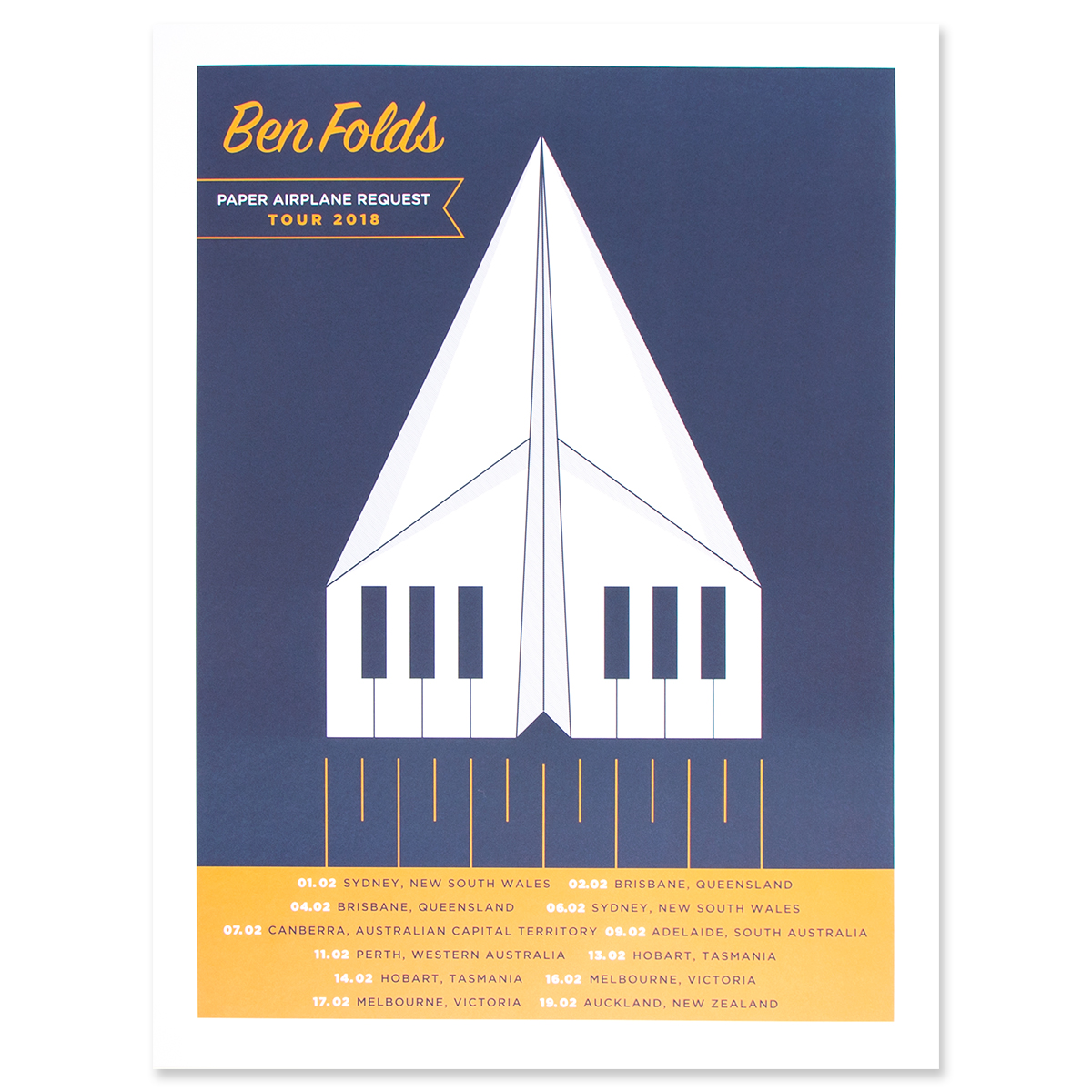 Poster Shop Perth Paper Airplane 2018 Australian Tour Poster Shop The Ben Folds