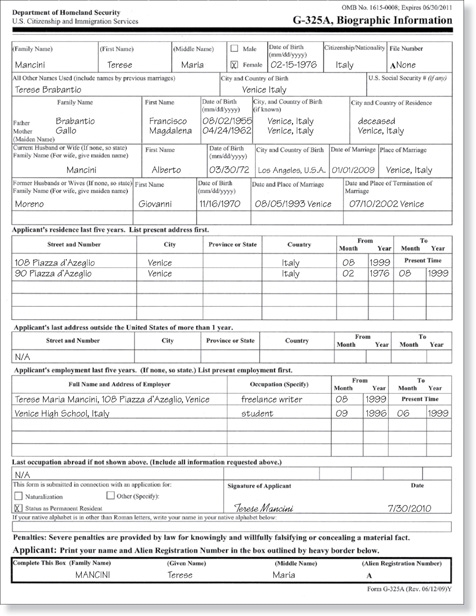 Form G325a Sample | Professional resumes example online