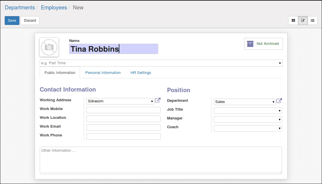 Creating a new employee - Working with Odoo 10 - Second Edition