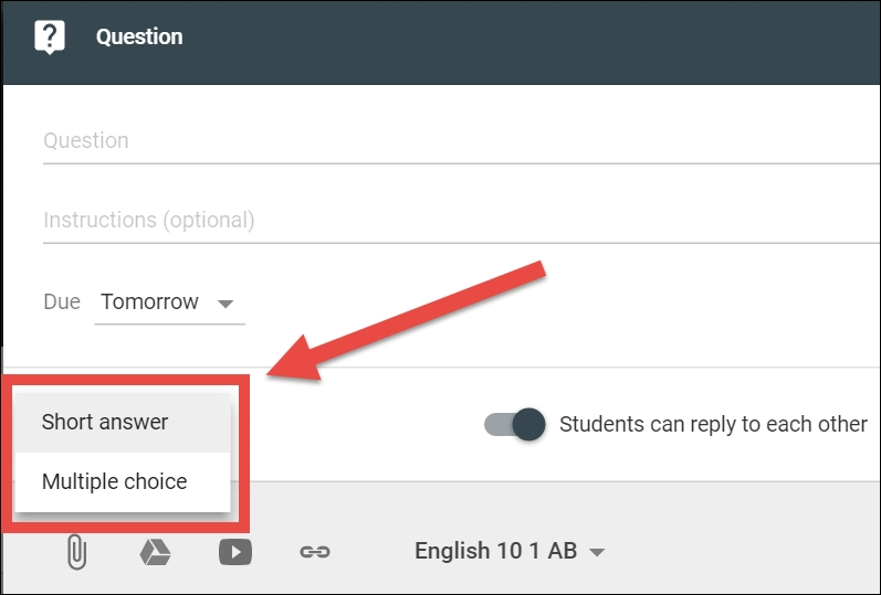 Creating multiple choice questions - Teaching with Google Classroom