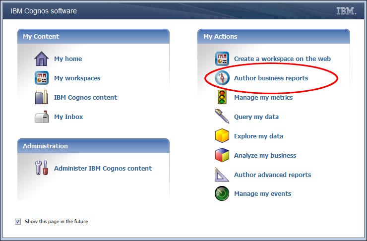 Accessing Cognos Workspace Advanced - IBM Cognos Business Intelligence