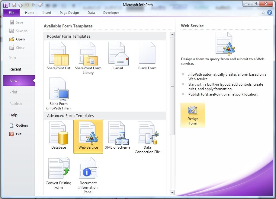Creating an InfoPath form for the NAV data - Microsoft Dynamics NAV