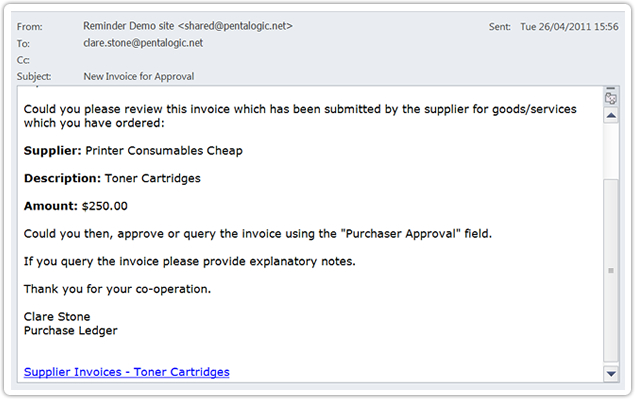 Simple SharePoint Workflow Pentalogic - how to send an invoice