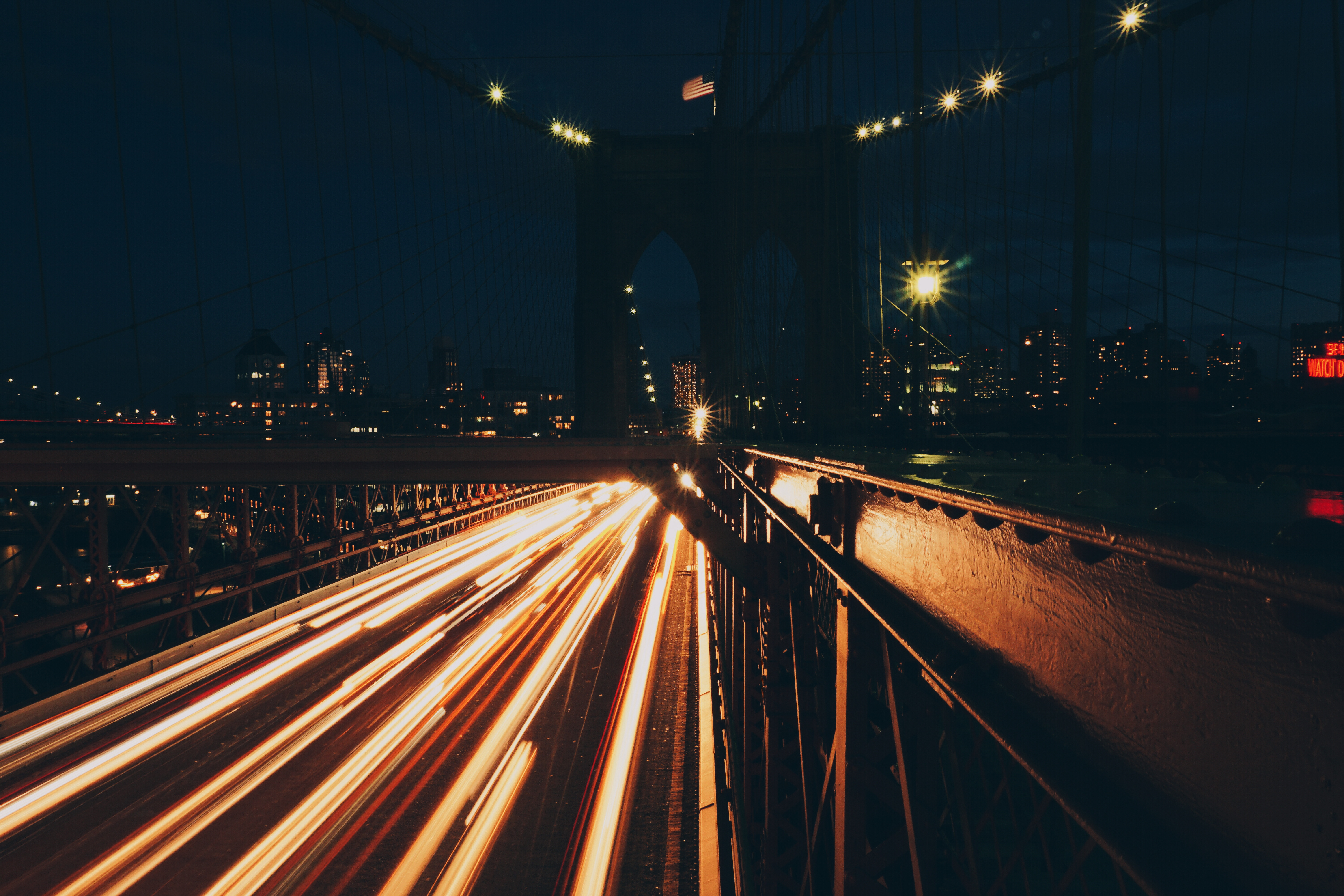 Brooklyn Bridge Wallpaper Black And White Light Trails On Road At Night 183 Free Stock Photo