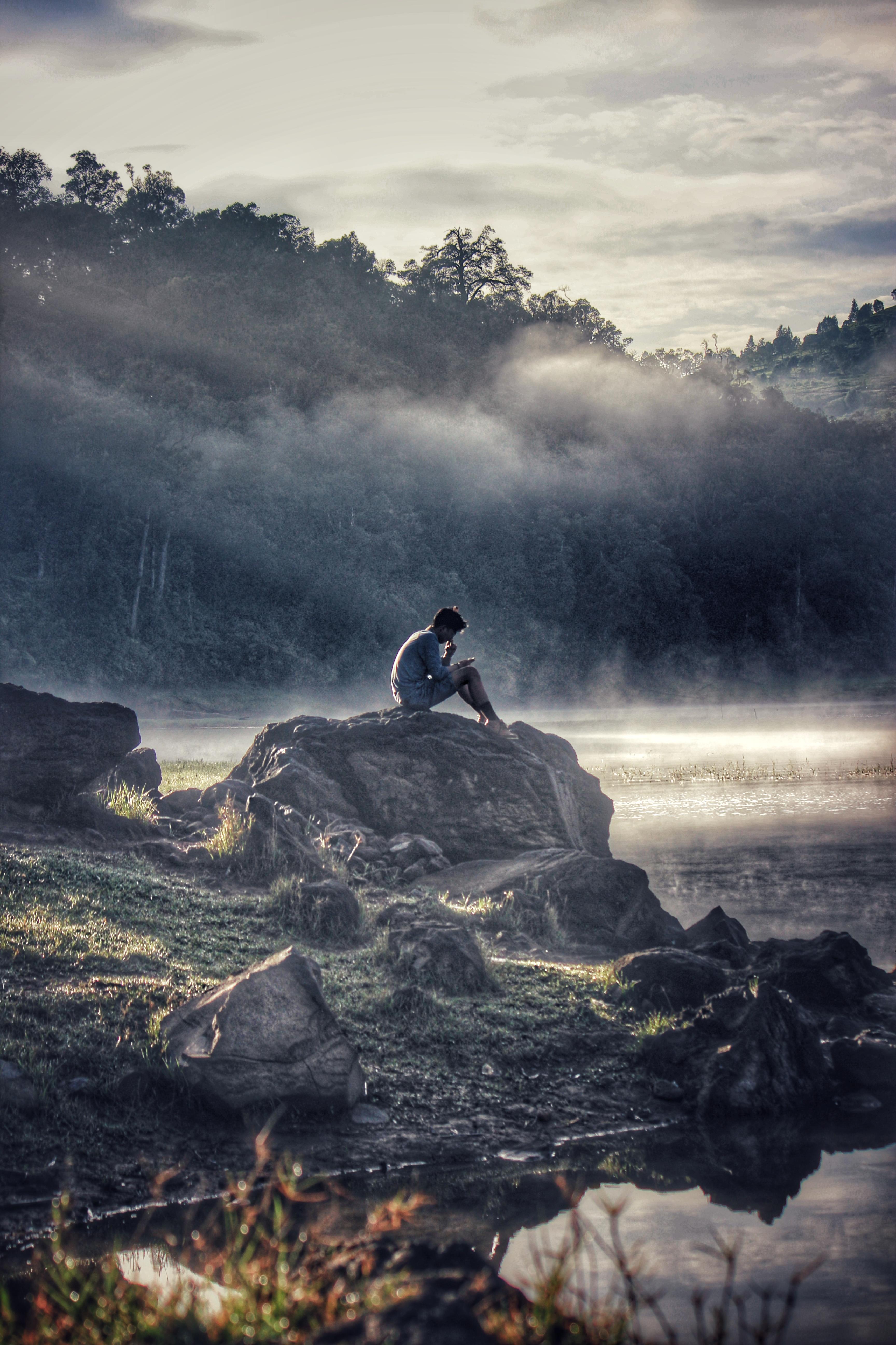 Sad Girl Pic Wallpaper Man In Gray Shit Sitting On Rock Boulder 183 Free Stock Photo