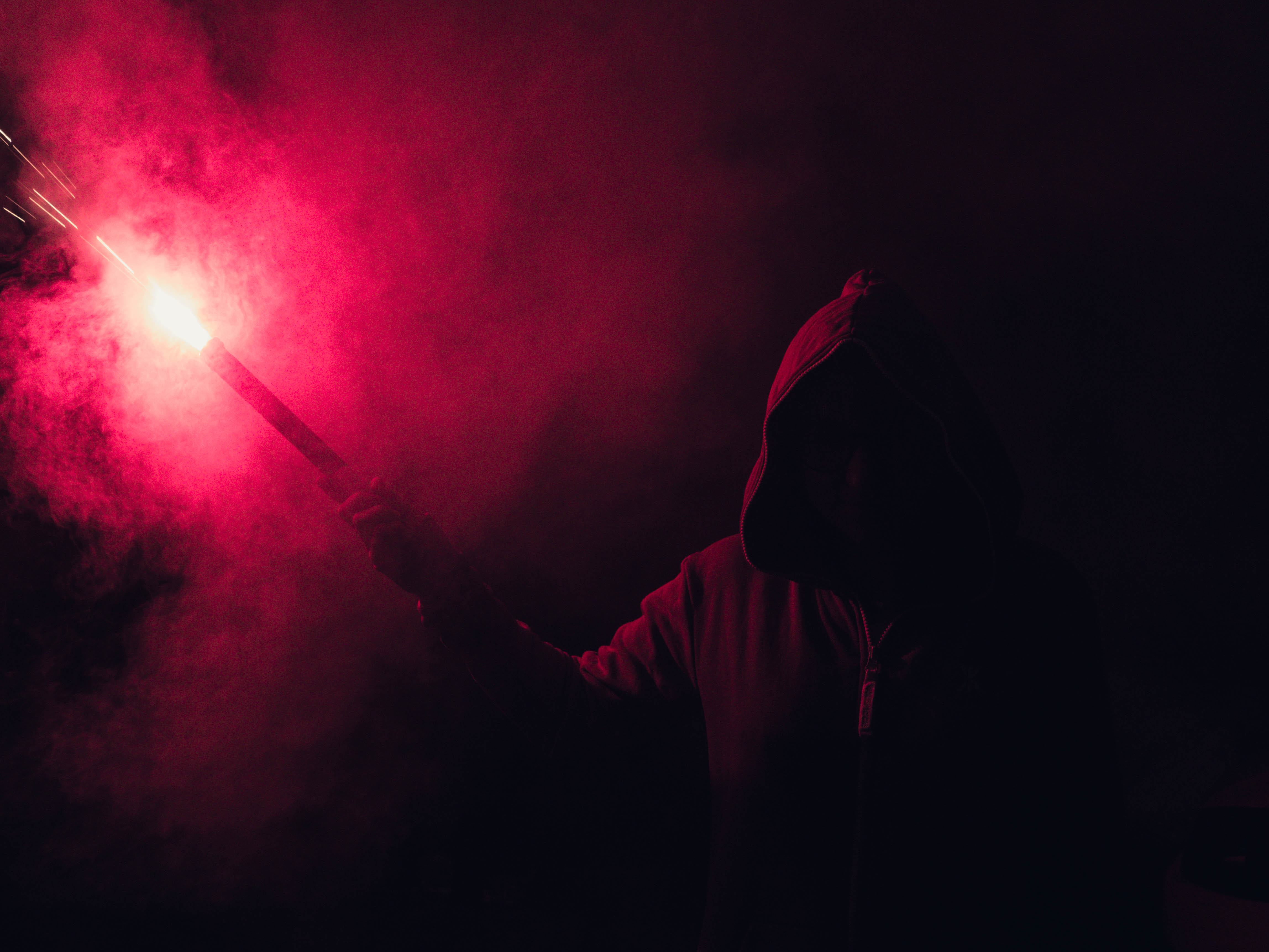 Night View Hd Wallpaper Hooded Figure Holding Red Flare 183 Free Stock Photo