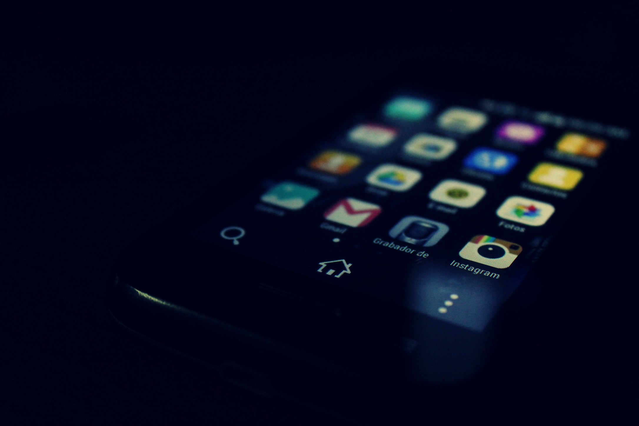 Black Wallpaper For Iphone 7 Black Android Smartphone Showing Instagram And Gmail