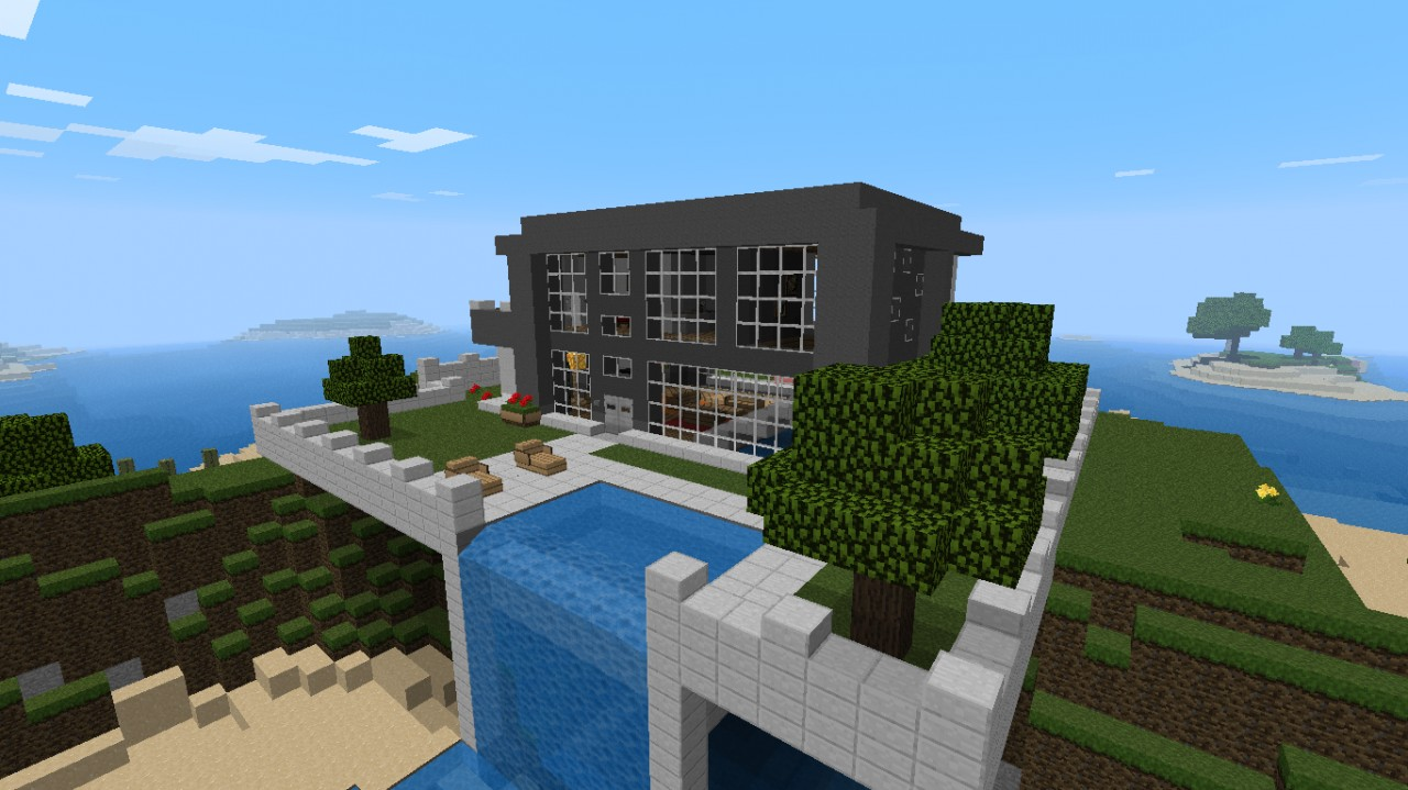Water Falling Live Wallpaper Download Nice Modern House With Waterfall Minecraft Project