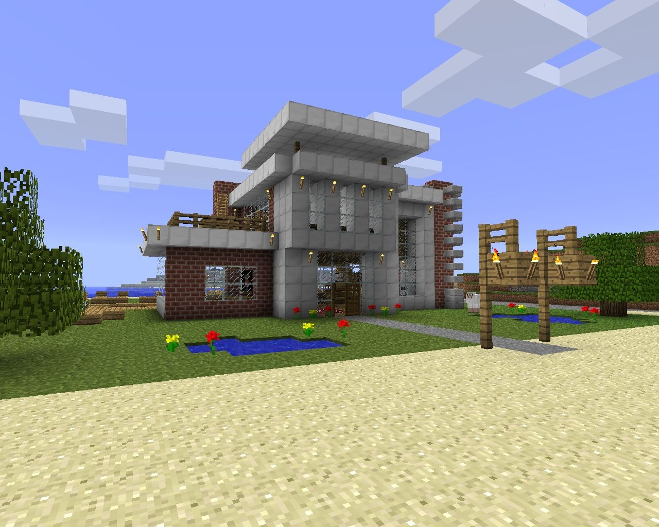 Modern beach house design (download) Minecraft Project