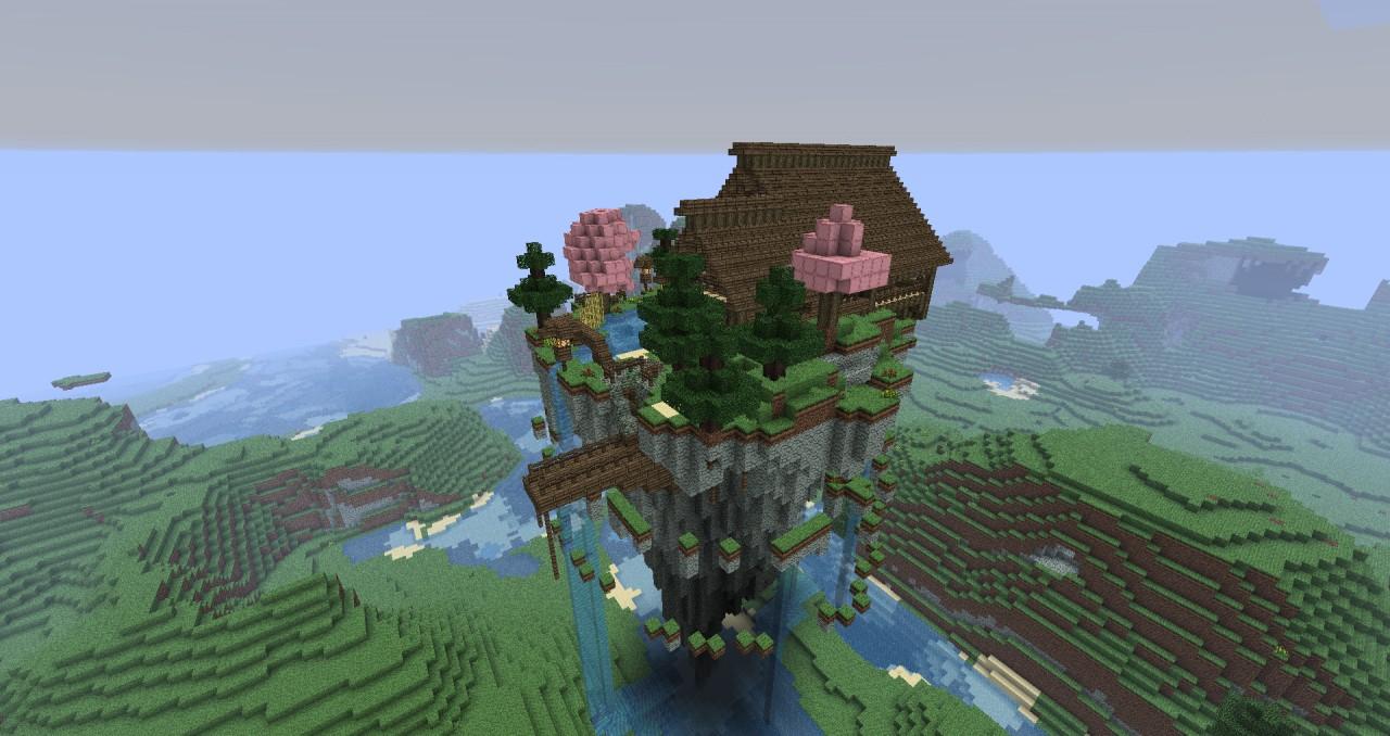 Insane 3d Wallpaper Download Mystical Zen House Floating Minecraft Project