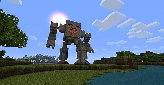 Feature Wall Wallpaper 3d Giant Robot Creeper Statue Minecraft Project
